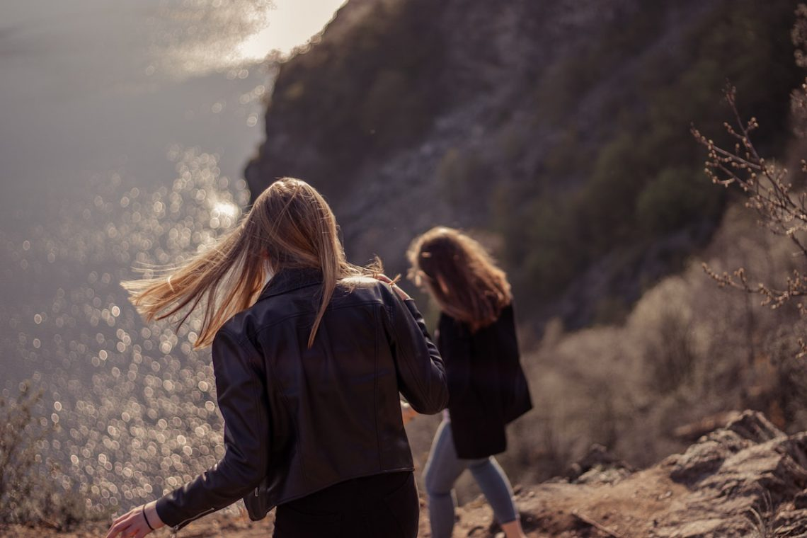 two women on a coastal path